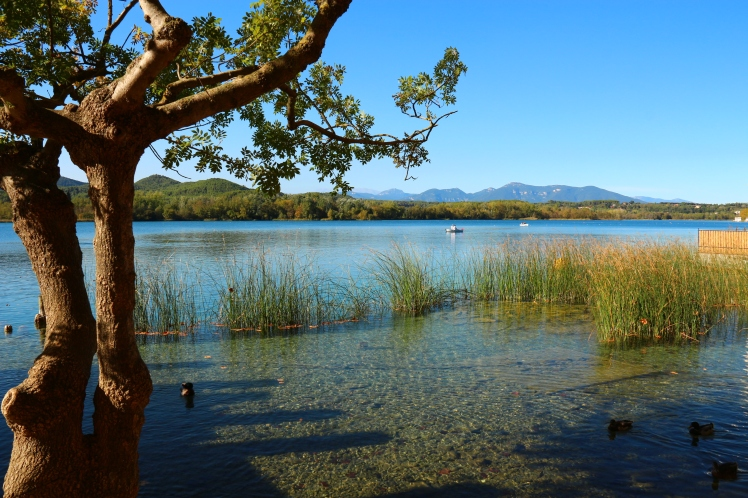 Lake Banyoles, in Catalunya Spain, with clear waters on a sunny day
