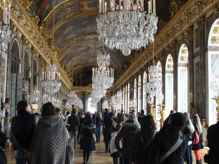 Thin crowds in Mirror room, Versailles France